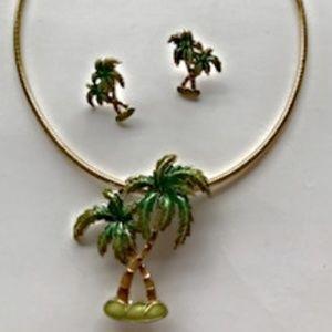 Jewelry - Palm Tree Pendant Pin  Earrings Pull Apart Choker